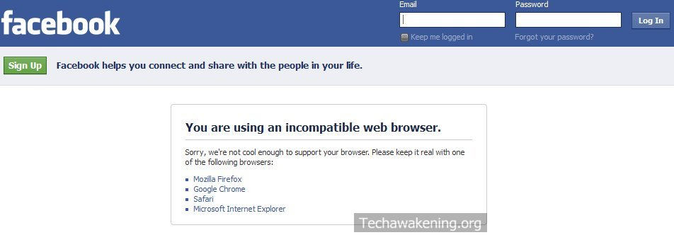 You are using an incompatible web browser