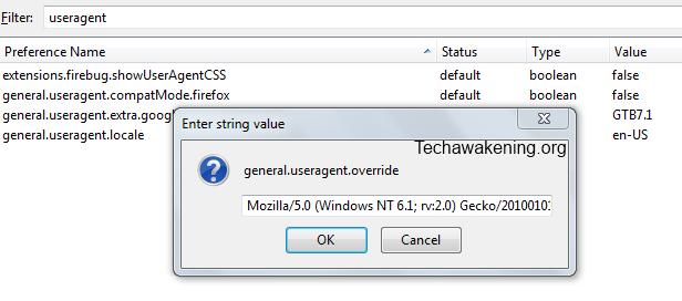 overriding Firefox user agent