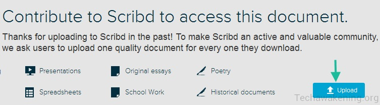 Download from Scribd for free by uploading new files