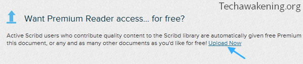 Scribd - click upload now link