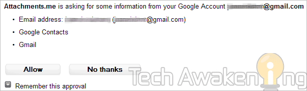 allow attachments.me to access your Gmail account