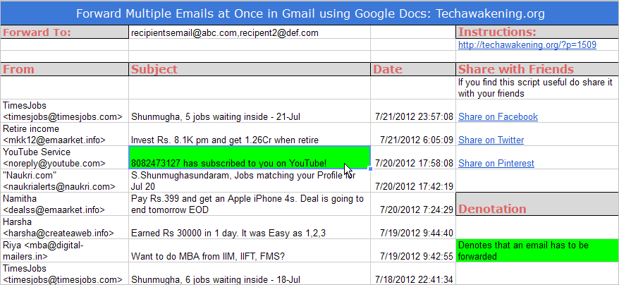 Google apps script to forward multiple mails in Gmail at once