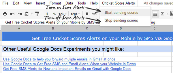 Get Free Cricket Score Alerts on Mobile via SMS using Google Docs
