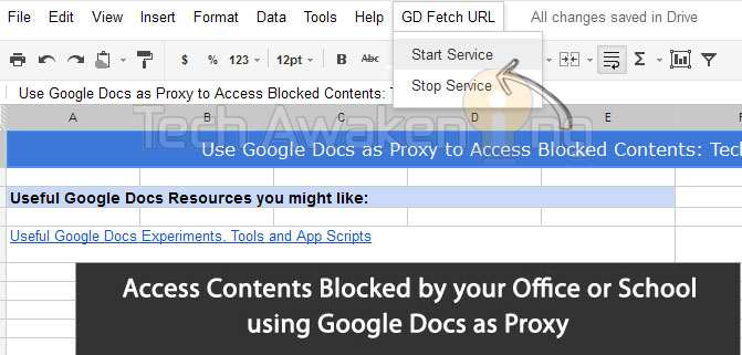 access sites, contents blocked by  web filters using Google Docs as Proxy