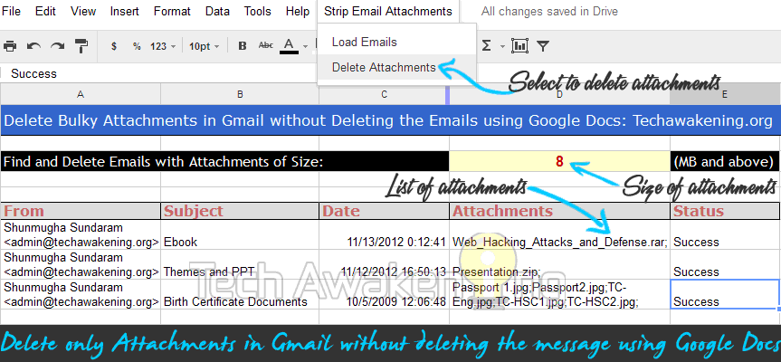 delete only attachments from emails in Gmail using Google Docs