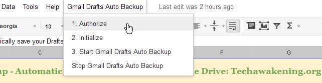 authorize Gmail drafts auto backup script