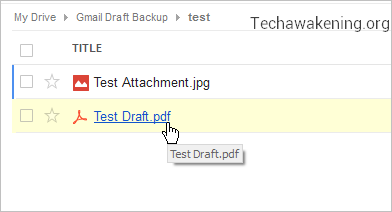 Gmail Drafts saved to Google Drive as PDF