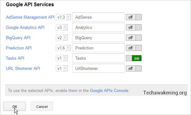 how to enable Google Tasks API