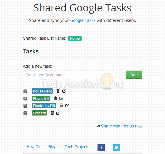 Shared Google Task List