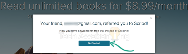 Get Two month free Scribd subscription by referring someone.