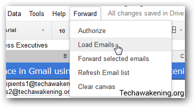 load emails on to Google Spreadsheet