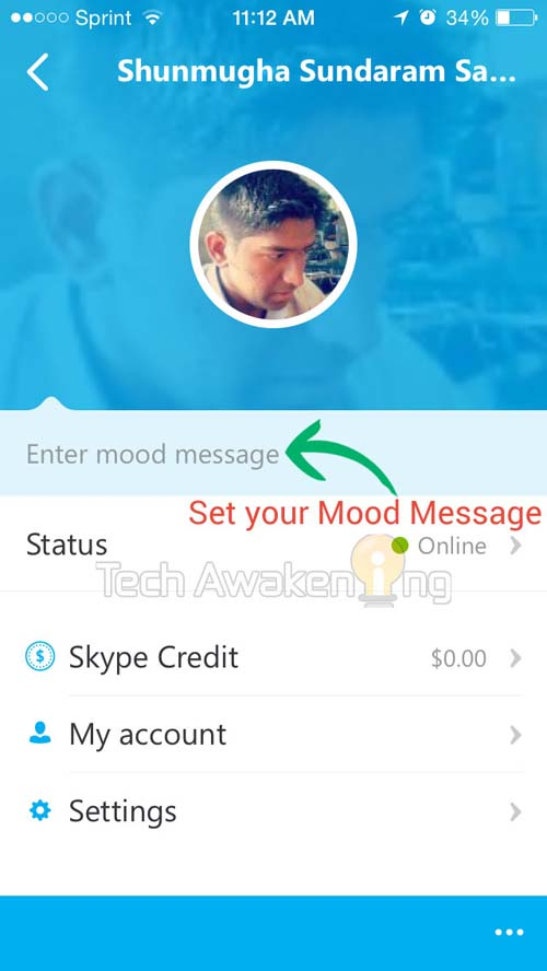 How to Set Mood Message in Skype 5 for iPhone
