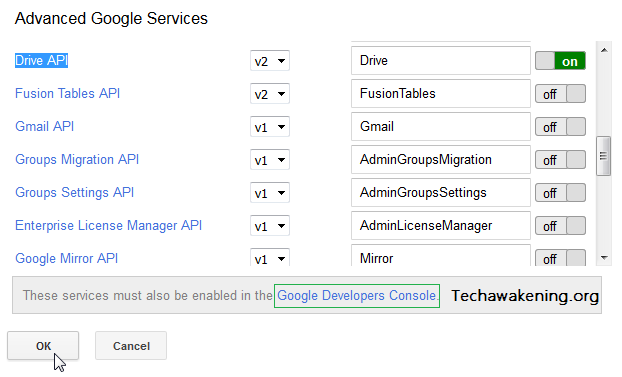 How Enable Drive API from Advanced Google Services