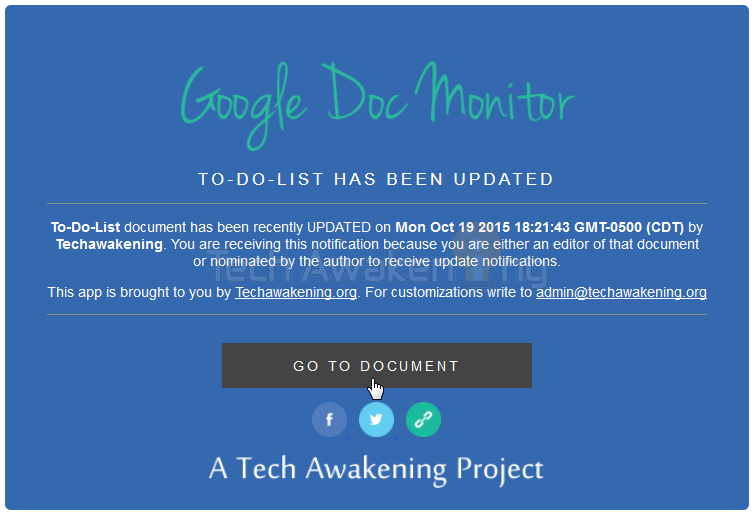 Get Email Notifications When Any Google Document is Updated or Modified